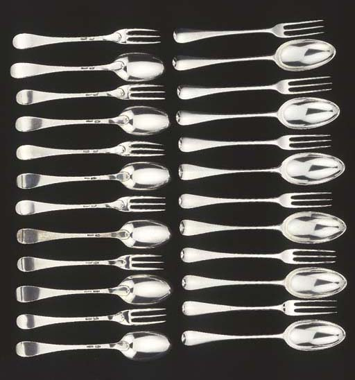 Twelve Dutch silver dessert fo