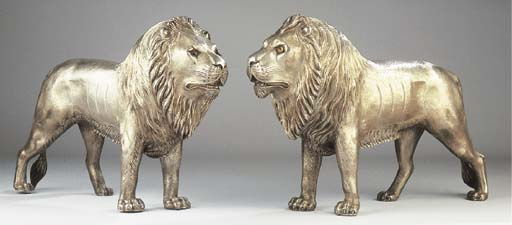Two silver lions