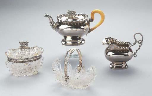 A Dutch silver four-piece teas