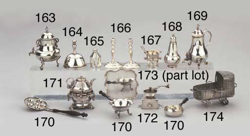 A Dutch silver miniature cradl
