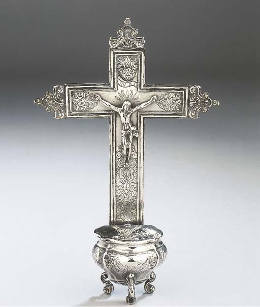 A Belgian silver holy water fo
