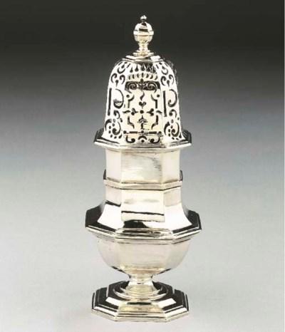 A Dutch silver pepper caster