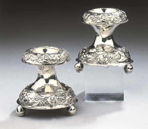 A pair of Dutch silver salt-ce