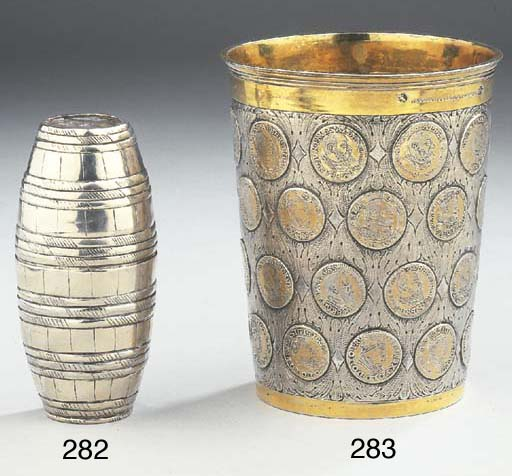 A German silver double-beaker