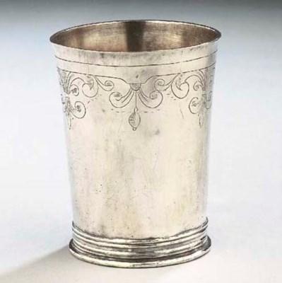 A Belgian silver beaker