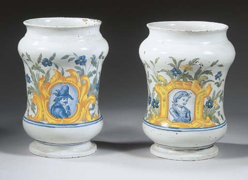A pair of Naples maiolica wais