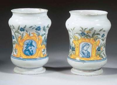 A pair of Naples maiolica wais