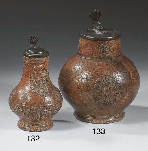 A Raeren stoneware pewter-moun