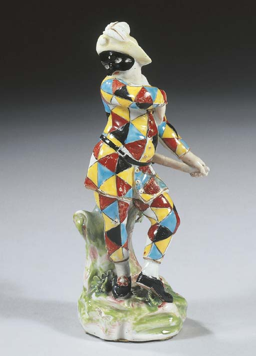 A Derby figure of a Harlequin