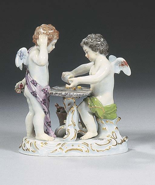 A Meissen group of winged cher