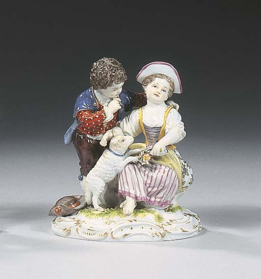 A Meissen group of two lovers