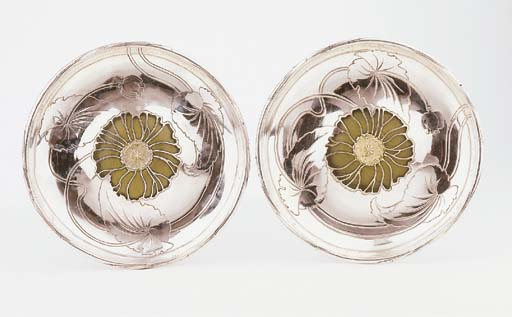 A pair of French silver trays