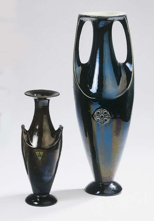 Two glazed pottery vases