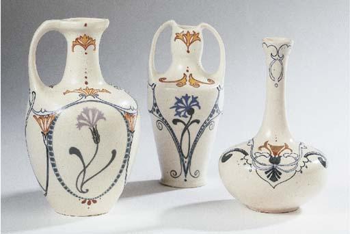 Three glazed pottery vases