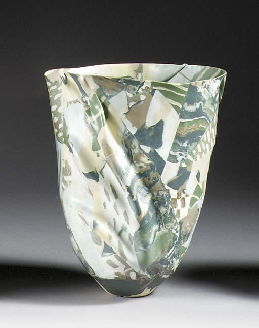 A folded porcelain vase