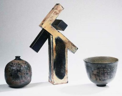 Two stoneware vases and a bowl