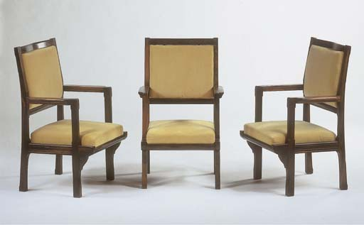 Three rosewood armchairs