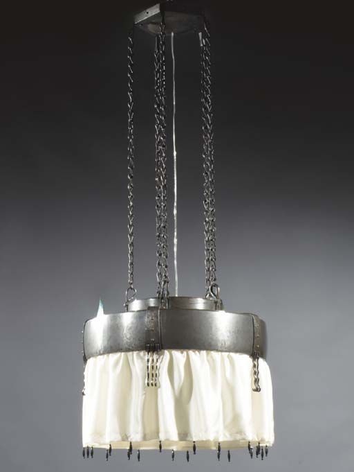 An iron and glass ceiling lamp