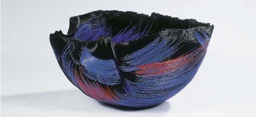 Nightfire, a fused glass bowl