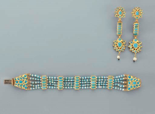 A GOLD PEARL TURQUOISE AND ENA