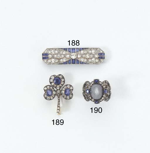 A DIAMOND AND SAPPHIRE BROOCH