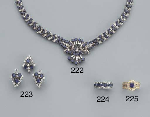 AN 18K GOLD DIAMOND AND SAPPHI