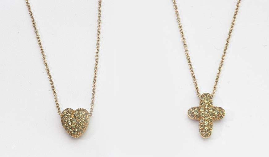 TWO GOLD AND PERIDOT PENDANTS