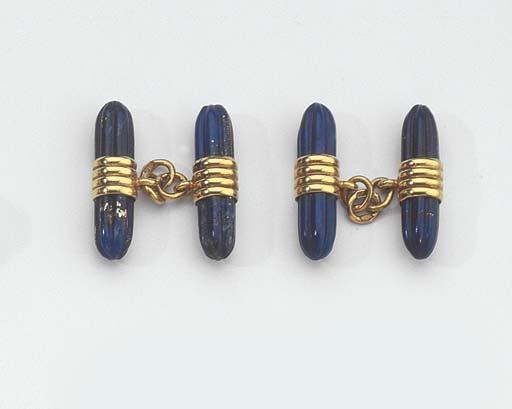 TWO PAIRS OF GOLD AND LAPIS LA