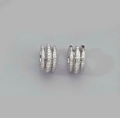 A PAIR OF WHITE GOLD AND DIAMO