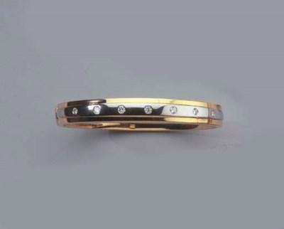 A GOLD AND DIAMOND BANGLE AND