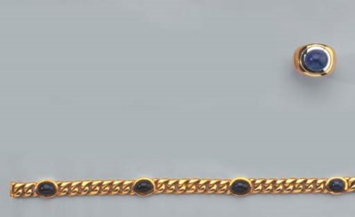 A GOLD AND SAPPHIRE BRACELET A