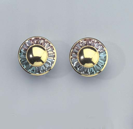 A PAIR OF GOLD AND GEM-SET EAR