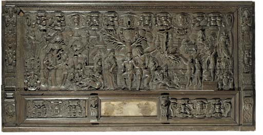 A carved wood relief depicting