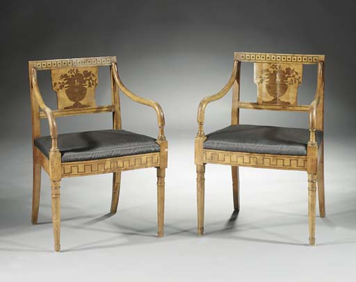 A pair of German birchwood and