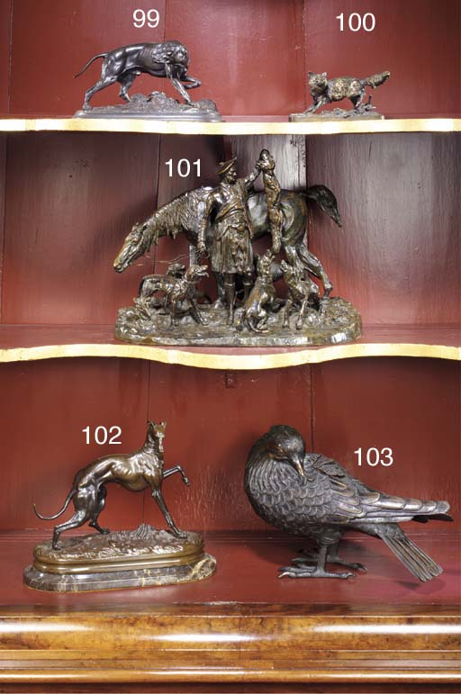 A bronze group of a hunting do