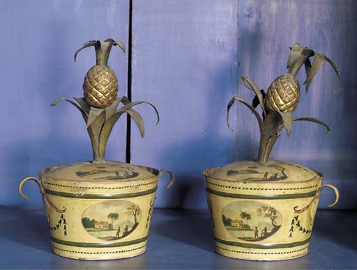 A pair of tole-peinte cachepot