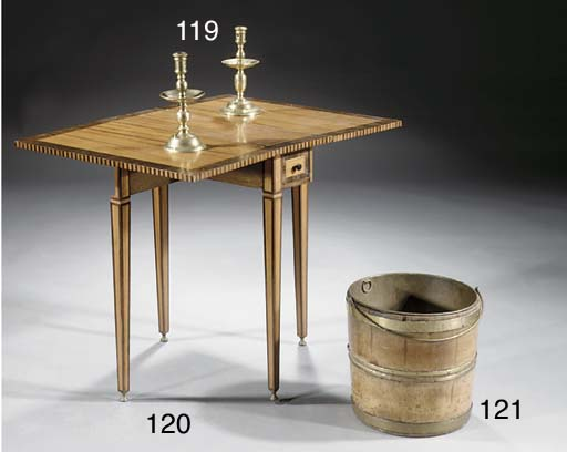 Two Dutch brass candlesticks '