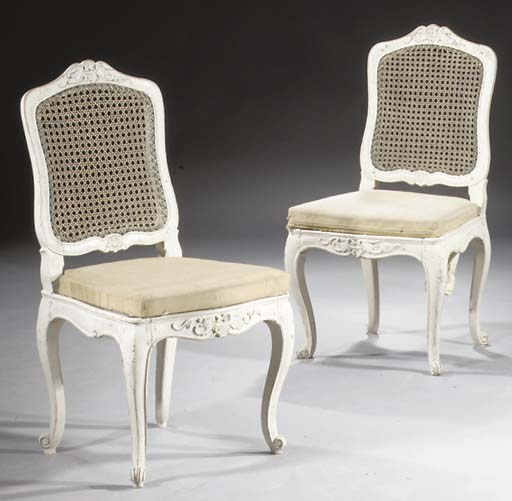A pair of German white-painted