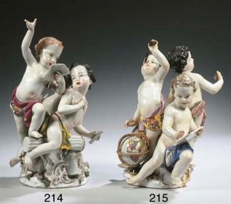 A Meissen porcelain group of p