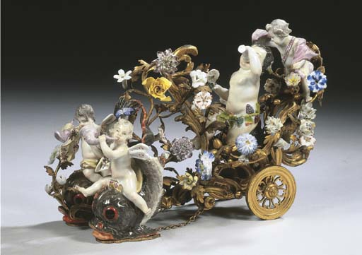 An ormolu charriot with Meisse
