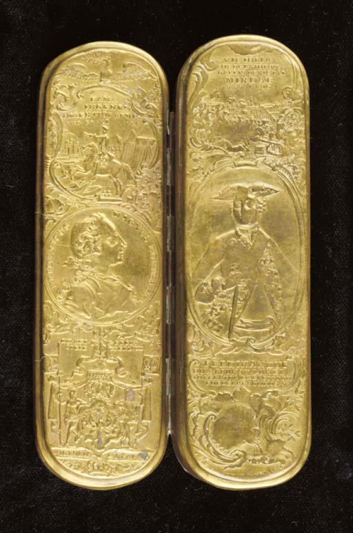 A German brass tobacco box