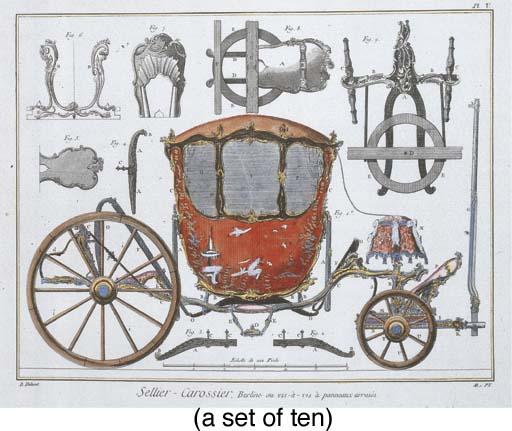 A set of ten prints of carriag