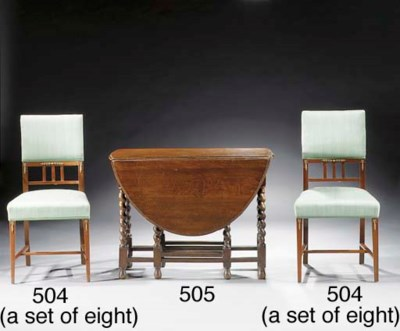 A set of eight mahogany dining