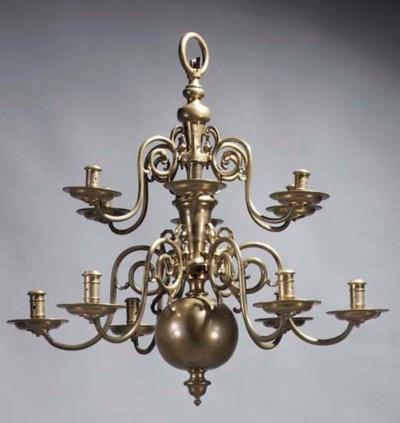 A Dutch brass twelve-light cha