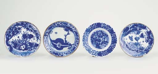 FOUR SMALL SAFAVID BLUE AND WH