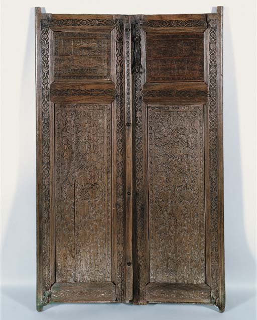 A PAIR OF SAFAVID CARVED WOODE