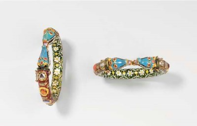 A PAIR OF MUGHAL INSET AND ENA