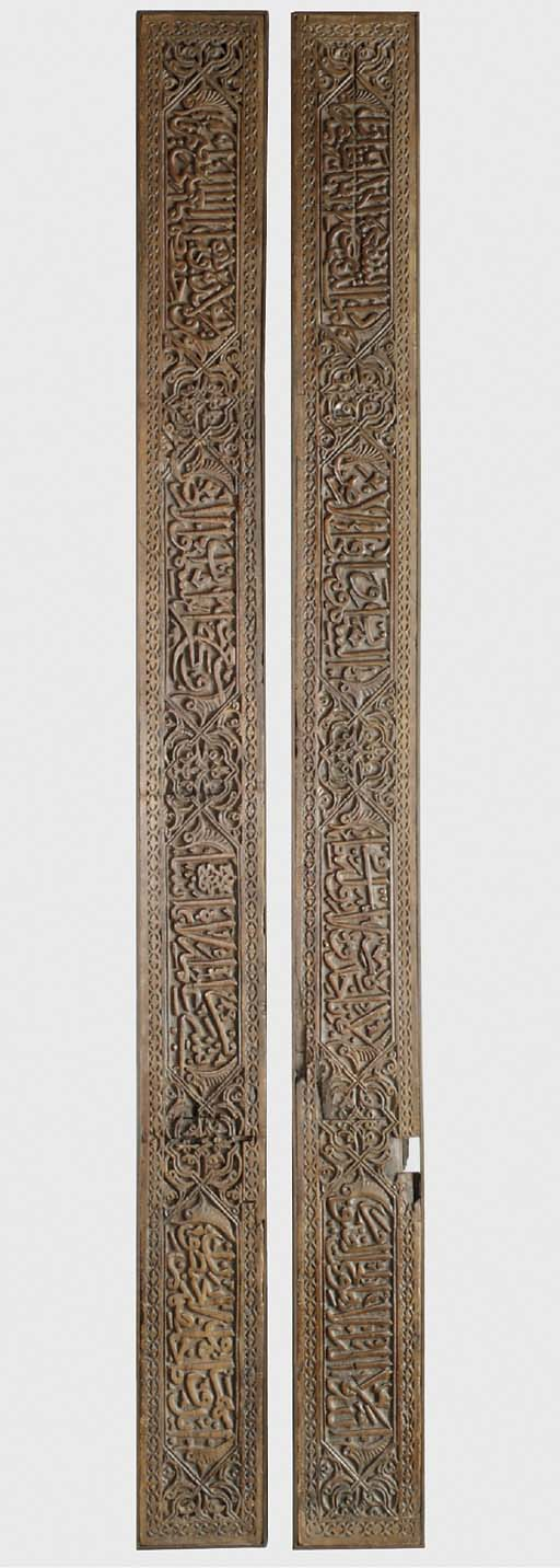 TWO EARLY MAMLUK CARVED PINE P