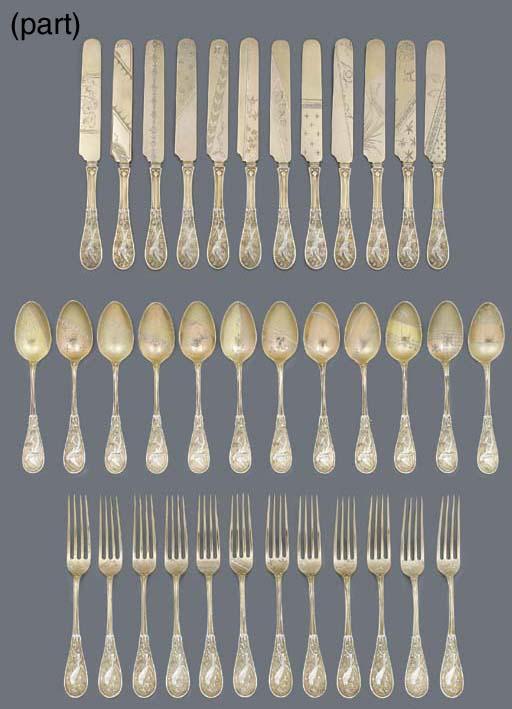 A Parcel-Gilt Silver Japanesqu