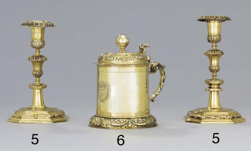 A pair of German silver-gilt c